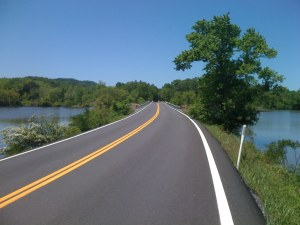 great pavement, gorgeous scenery (Lower River Road, Bradley Co.)