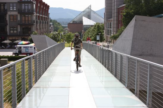 RIding the glass bridge from Hunter Museum of Art; Chattanooga Riverwalk