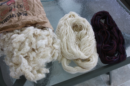 Cleaned fleece and the mohair yarn (un-dyed and dyed)