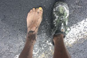 Soaked and trail-grit encrusted feet.