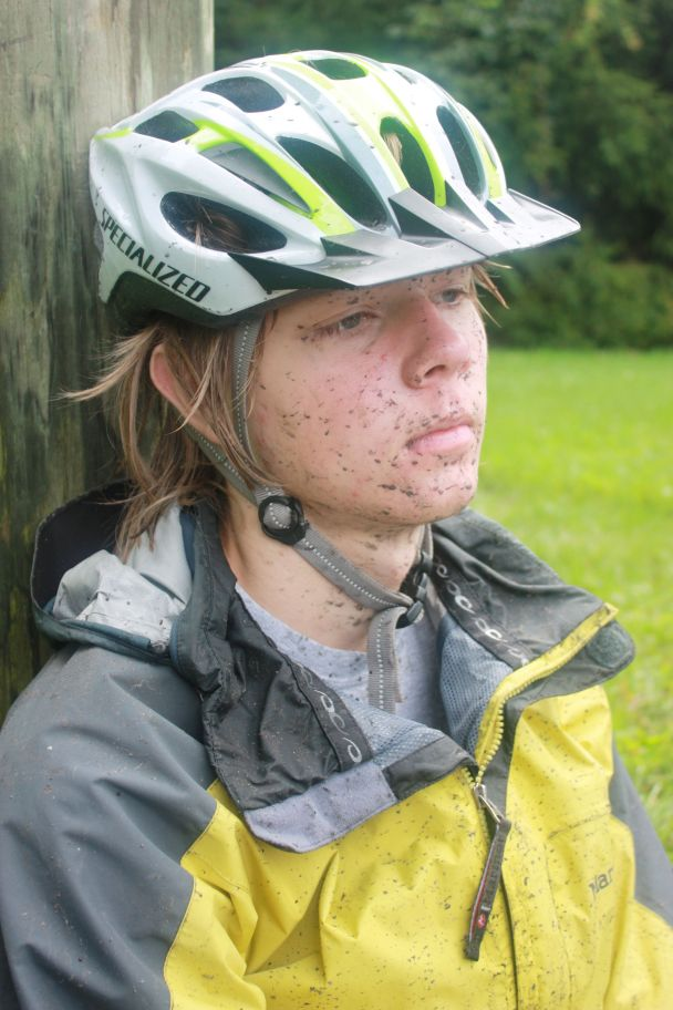 Grant covered in Virginia Creeper trail grit.