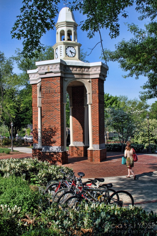 bicycles and clock tower near the tennis courts - Lee University
