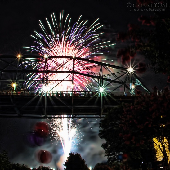 fireworks and the Walnut Street pedestrian bridge