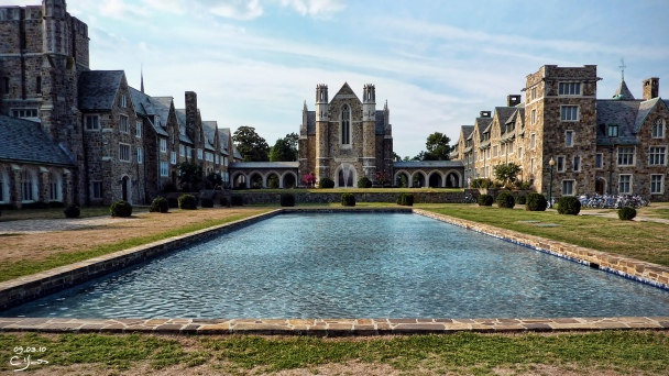 Ford Dining Hall, Clara Hall and Mary Hall and the reflecting pool